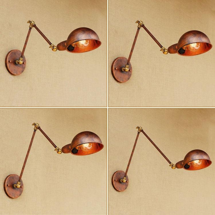 Retro Loft Industrial Wall Sconce Adjustable Swing Long Arm Wall Lamp Vintage Edison Wandlampen Arandela Lampara De Pared loft retro industrial two section swing arm metal wall lamp fixture wandlamp industrieel lampara de pared espejos bano
