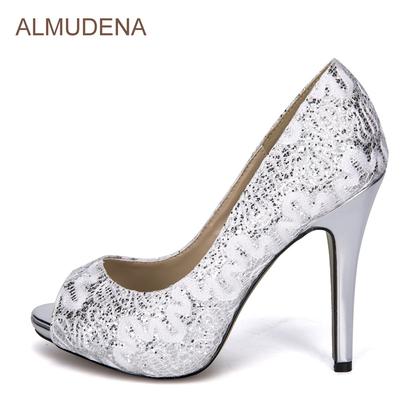 ALMUDENA Women Fashionable Silver Lace Shoes Peep Toe Bling Bling Crystal Dress High Heels Floral Wedding Shoes Rhinestone Pumps брюки sisley sisley si007ewarto2