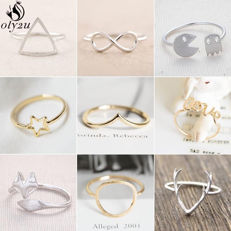 Oly2u Minimalista Cobre Anéis Geométricas para As Mulheres Simples Triângulo Estrela Rodada Anel Animal Bonito Fox Anel de Dedo Melhor Presente Amigo