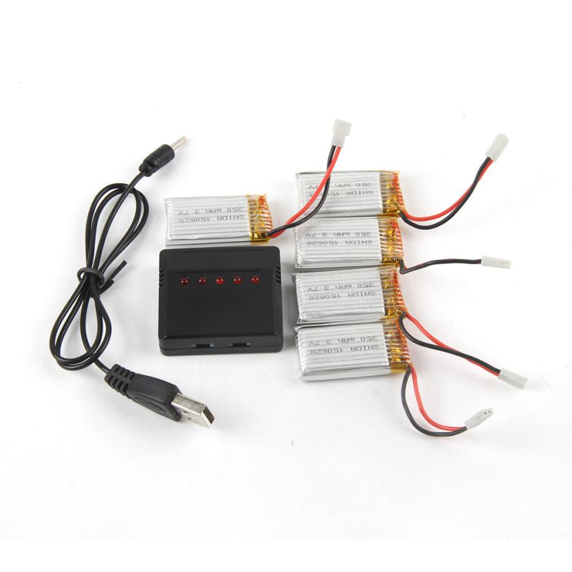 CHAMSGEND 5pc 3.7V 350mAh Li-Polymer Battery +A Five Charger For H8/H31 RC Quadcopter may 26 P30