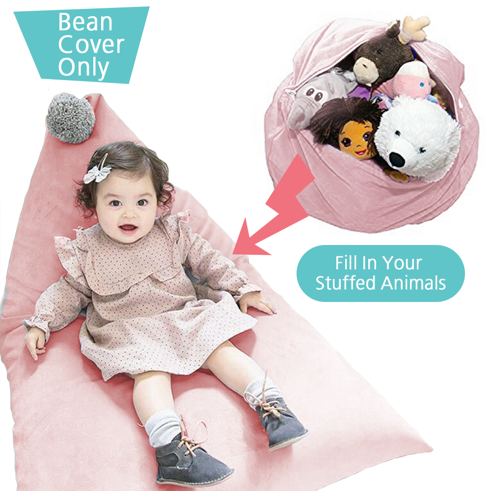 Creative Large Toy Storage Bag 100% Cotton Stuffed Animal Storage Bean Chair Cute Poms Seat Lounger Sofa for Kids (Cover Only)