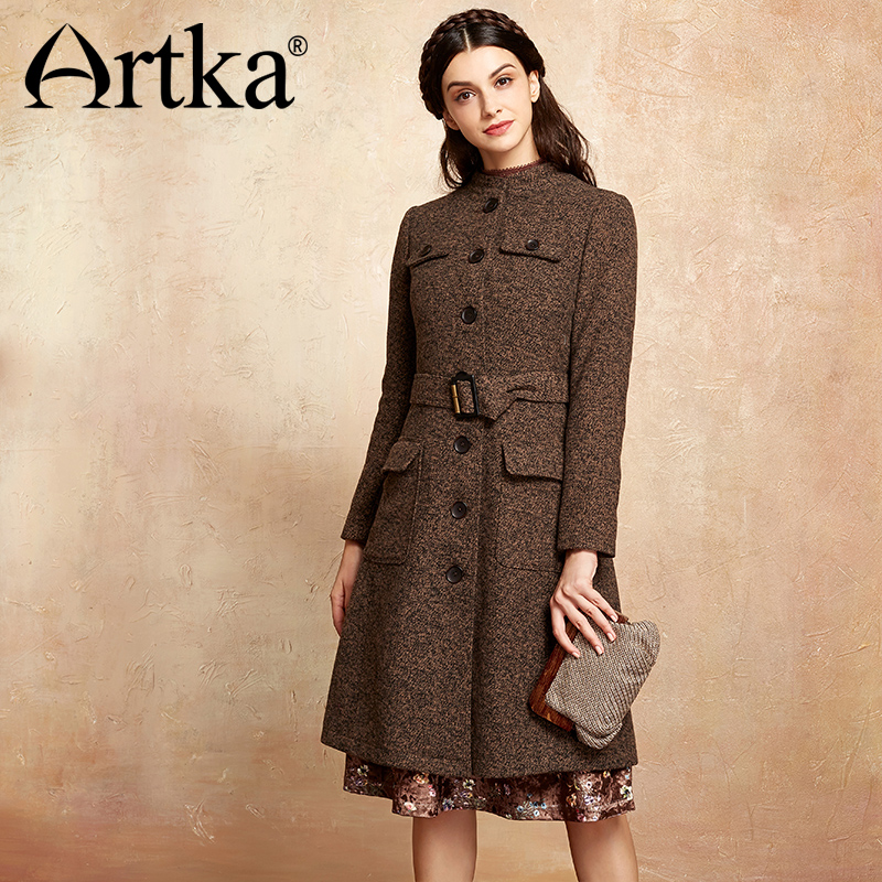 ARTKA Autumn Women Jackets 2018 Winter Wool Coat With Belt Female Elegant Outerwear A-Line Ladies Overcoat Long Jacket WA10371Q