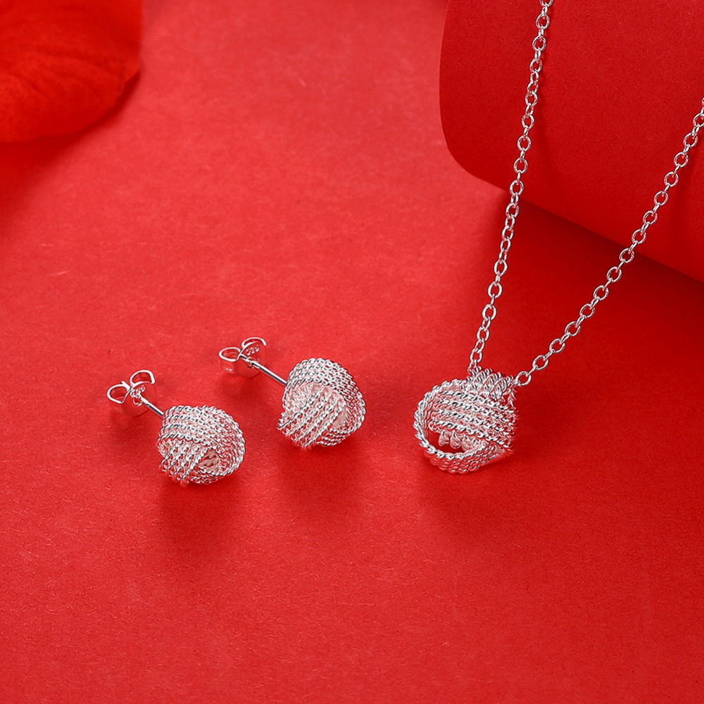 New Arrival Silver Plated Jewelry sets for Women Net Ball Necklace Pendant silver plated stud earrings wedding jewelry sets