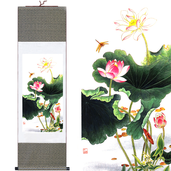 Traditional Home Garden Decor With Flower Home Decor Silk Traditional Chinese Lotus Dragonfly Ink Watercolor
