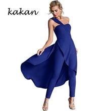 Kakan summer new womens jumpsuit fashion slant shoulder wrapped chest big swing singular dinner wedding