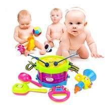 5 шт. Дети Toys Plastic Roll Барабан Труба Кабаца Колокольчик Музыкальные Инструменты Группа Комплект Дети Baby Toys Подарочный Набор