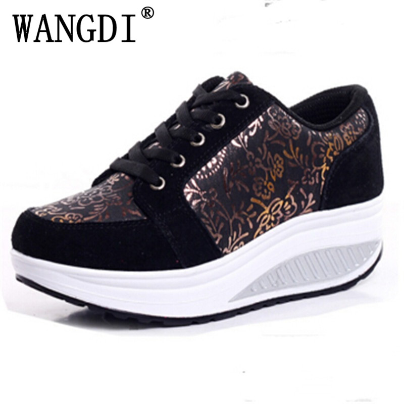 New 2016 Slimming Shoes Women Fashion Leather Casual Shoes Women Fitness Lady Swing Shoes Spring Autumn