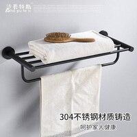 Bathroom Accessories Set Black 304 Stainless Steel Towel Rack Bathroom Towel Rack Hardware Toliet Brush Holder Brushed Robe Hook