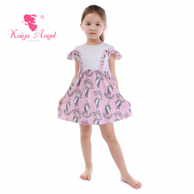 5bada7466686 Kaiya Angel 2018 Hot Light Pink Flower Unicorn Princess Dress Birthday  Wedding Party Presents Newborn Girl Summer Clothes