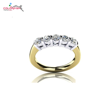 Фотография COLORFISH Round Drill 0.7 Carat Five Stone Wedding Band Ring 925 Solid Sterling Silver Bar Set Sona Ring For Women Anniversary