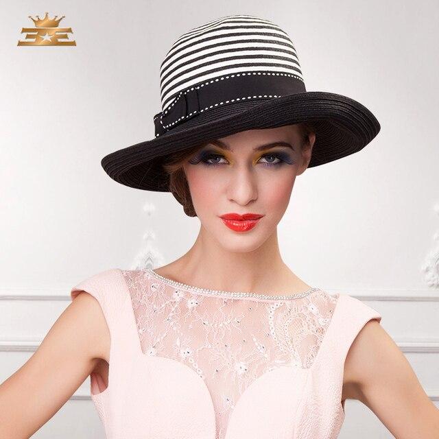 Nueva Llegada British Fashion Sun de la Paja del Casquillo del Sol Hembra Sombrero Del Verano de Las Mujeres de la Raya Mosaica Mujer Tapa Sombrilla B-4810