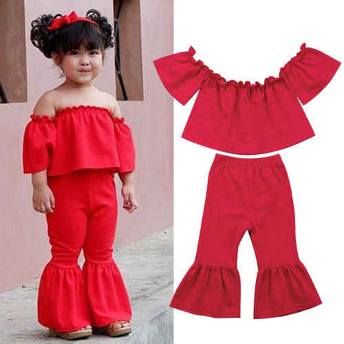 565a8460c8e Newborn Girls Fashion Clothes OUtfits Off Shoulder Ruffles Crop Top+Bell-Bottom  Flare Pants