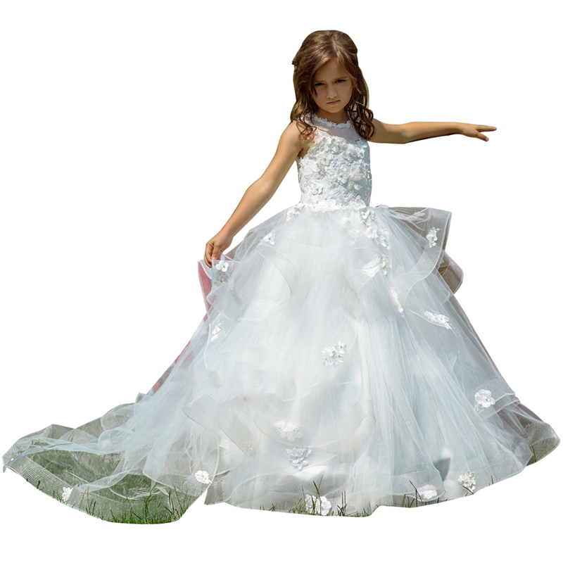 white first communion dresses long lace girls dress kids ball gown tiered fluffy dress for girls white flower girls tulle dress цены онлайн