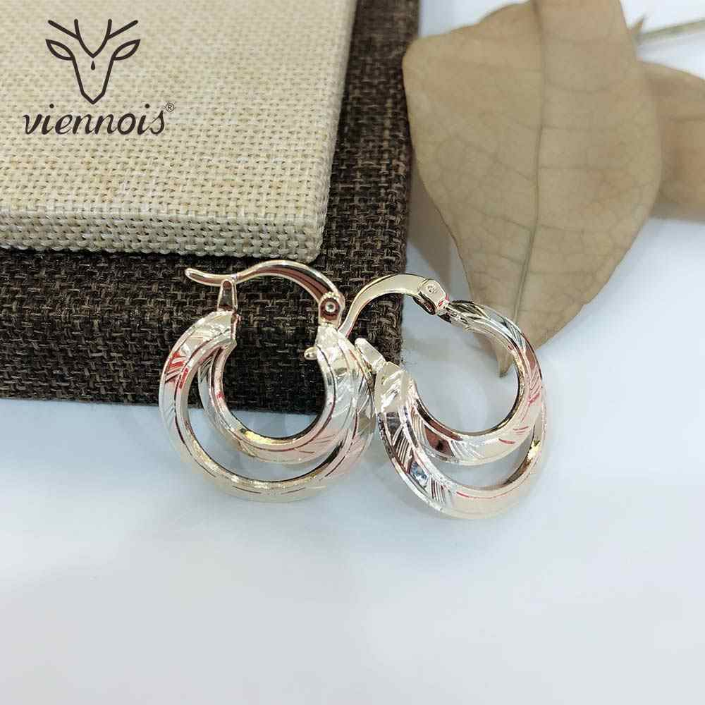 Viennois Gold Color Round Hoop Earrings For women Large Circle Earrings Fashion Jewelry