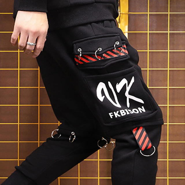 Mens נשים בתוספת קטיפה זוג מכנסיים מטען מכנסיים כיסים גדול גודל רצים ספורט זכר מכנסיים מכנסיים Ninja טרנינג S 3XL