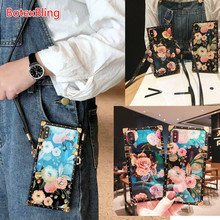 Luxury laser flower crossbody bag strap phone case for iphone 11 pro max case for iphone XS MAX case X XR 6 6s 7 8 Plus 7plus for samsung galaxy note10 pro S8 S9 S10 plus note9 note8 A10 A20 A30 A50 A70 M20 m30 cover