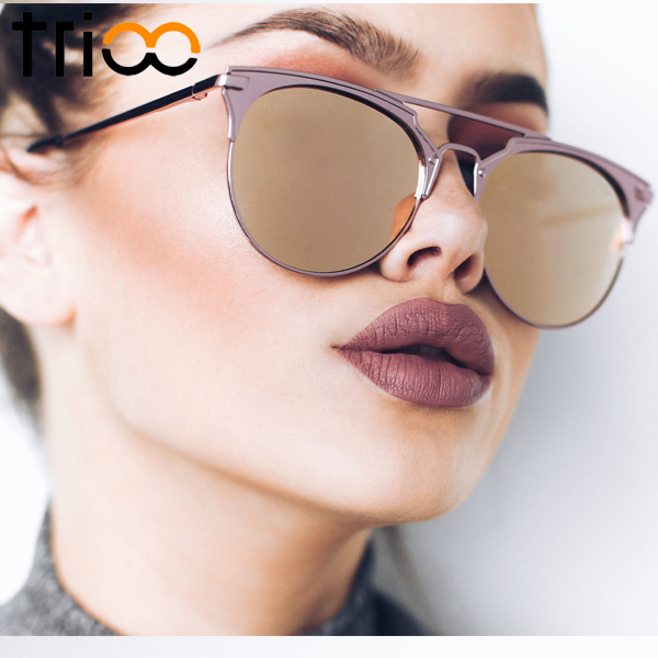 TRIOO Mirror Rose Gold Sunglasses Women Round Luxury Brand Female Sun Glass..