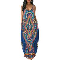 India Folk Style Printed Long Dress Summer Spaghetti Strap Maxi Loose Blue Dress Women Sleeveless Party Sundress Q284
