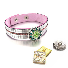 Hot 6 Colors Fashion Bling 325 Crystal Leather 18mm Snap Button Charm Bracelet Bangle Jewelry For Women Teenagers Gift