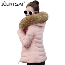 JOLINTSAI 2017 New Winter Jacket Women Large Fur Collar Padded Coats Women Parkas Wadded Thickening Winter Coat Female