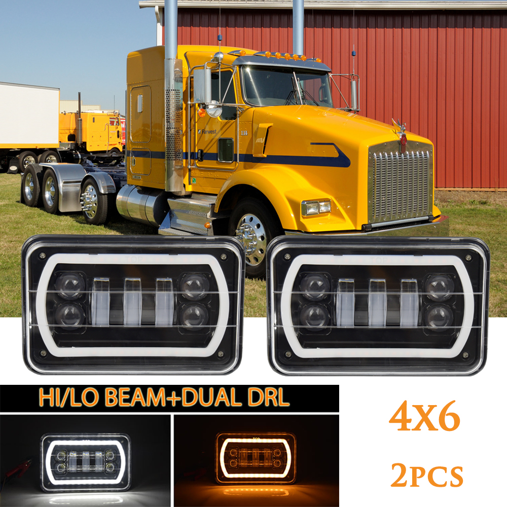 4X6 Car Led Headlight Square Light White Halo DRL Amber Turn Signal Sealed high/low Beam Replacement For Ford Trucks Offrord 4x6 square high low beam led headlight reflector sealed beam replacement with drl for peterbil kenworth freightinger ford probe