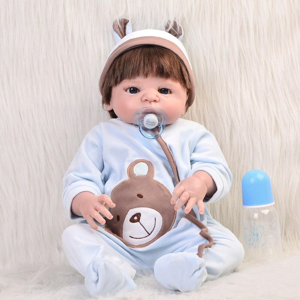 Smooth Hair 23 Reborn Baby Doll So Truly Full Silicone Body Safe Realistic Baby Doll Boy