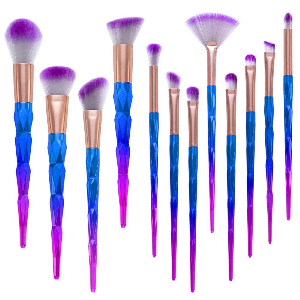 12pcs Diamond Handle Makeup Brushes Set Pincel Maquiagem Eyeshadow Eyebrow Lip Powder Cosmetic Brush Tools 10sets/lot (OS1014)