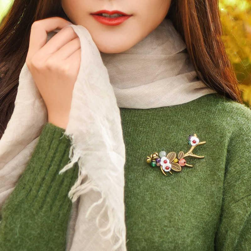 Boeycjr étnica elk antlers & flor broche do vintage jóias de alta qualidade broches artesanais para feminino vestido cachecol acessórios