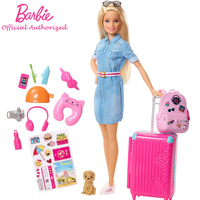 Barbie Brand Toy Travel Doll and Puppy Playset Kid Suitcase Girl Toy Gift With Funny Accessories Long Hair Pretty Girl FWV25