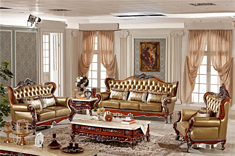 Carving Wood Sectional Sofa Set 3 2 1 Classic European
