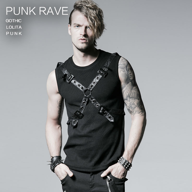 Gothic Casual Summer Style Black Rib Vest With Ether Belt Men Shirt T351BK