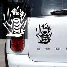 CK2739#15*20cm 4x4 tires funny car sticker vinyl decal silver/black car auto stickers for car bumper window car decorations