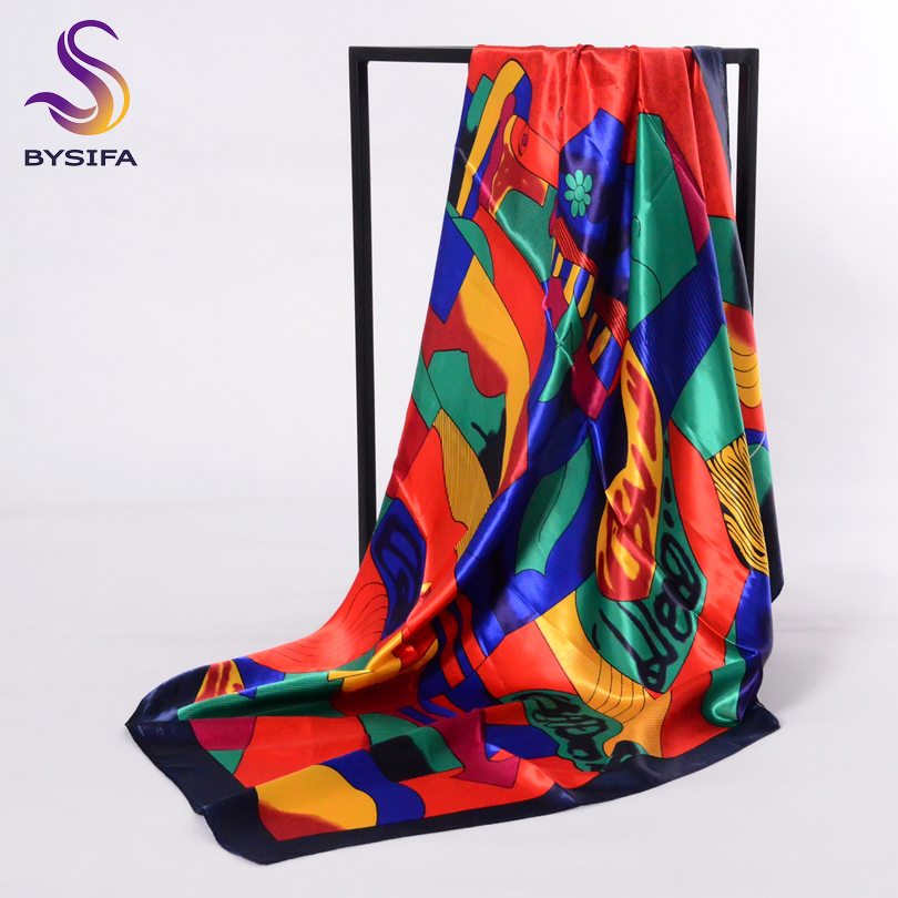 BYSIFA Brand Charater Women Muslim Head Scarf Wraps Fashion Accessories Ladies Red Satin Square Scarves