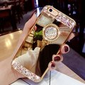 ON SALE ! 2017 Diamond Soft Rubber Crystal Rhinestone Glitter Mirror Case for Girls with Stand for iphone 5s 6/6plus 7/7plus