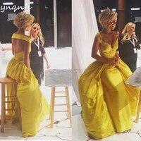 YNQNFS ED248 спинки желтый вечернее платье элегантный Abendkleider халат de Soiree платья подружек невесты из тафты Русалка Вечерние Платье