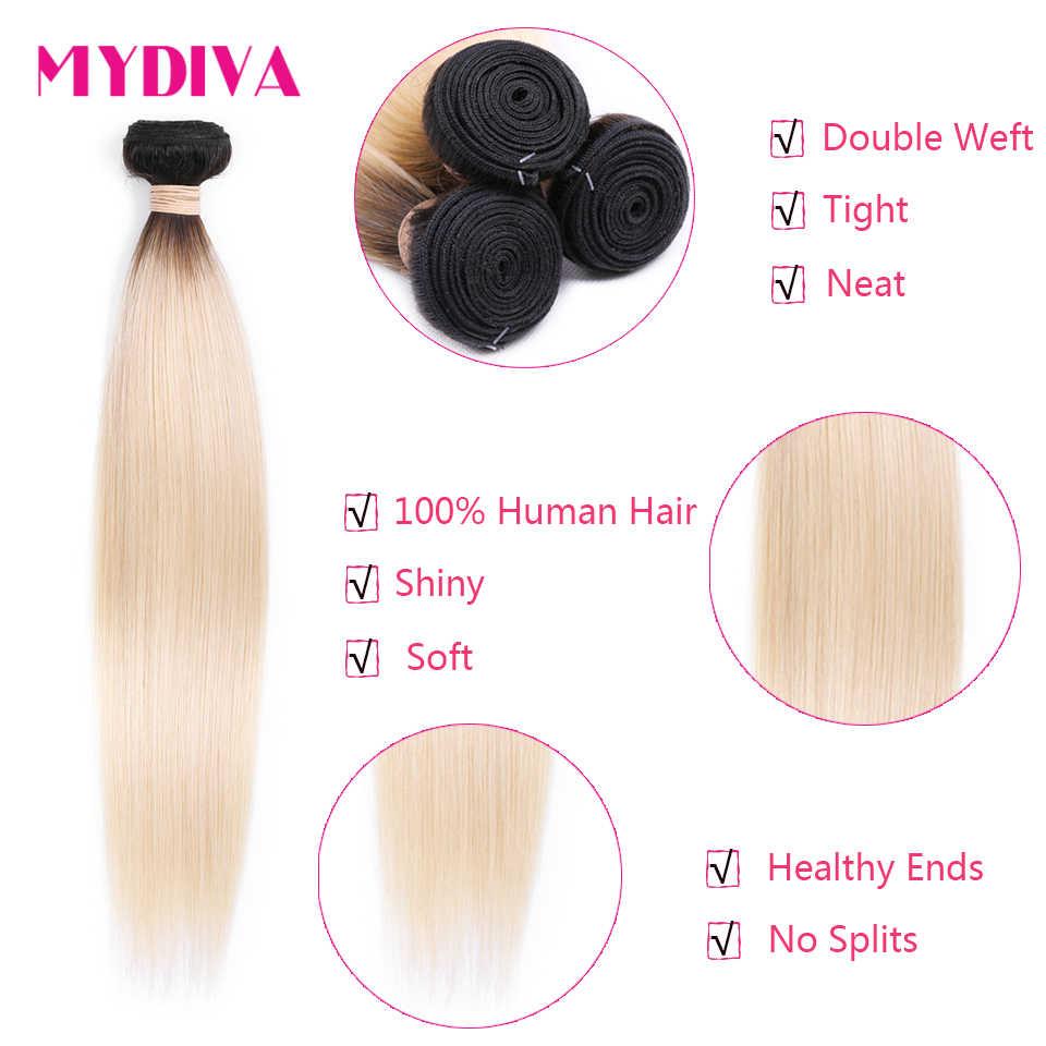 Бразильские прямые волосы 1B 613 Омбре светлые пучки с закрытием темных корней не Реми человеческие волосы плетение пучки с закрытием