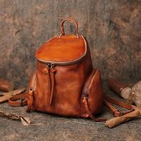 Notebook Backpack Women Shoulder Bags 2019 Autumn School Men Back Packs Genuine Handmade Leather Multifunction College Backpacks