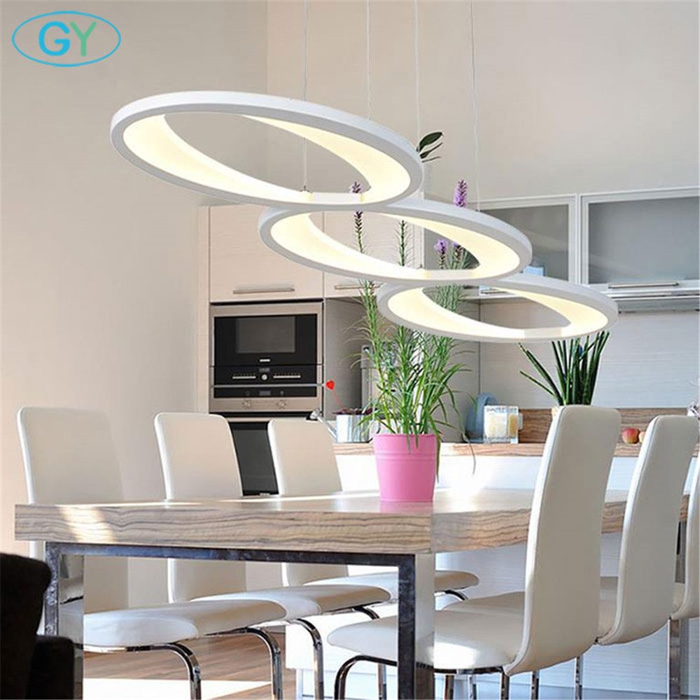 Modern Acrylic led Pendant Light L100cm/39in 48W Kitchen dining room island lights LED Hanging Lamp Luminaires LED ceiling Lamp ...