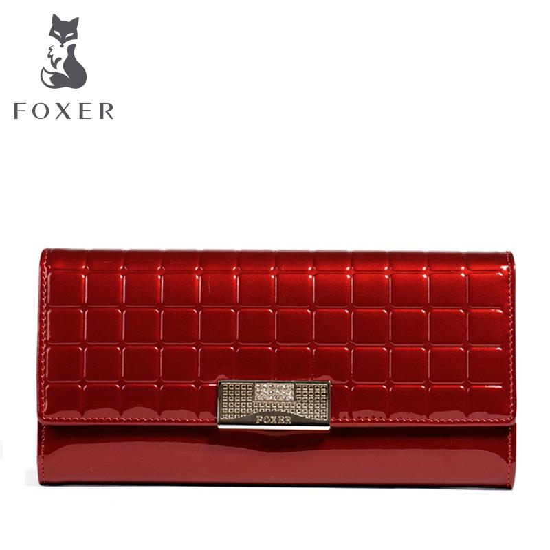 Prix pour FOXER Marque Femmes En Cuir Long Portefeuille De Luxe Femelle Portefeuilles Dames Sac À Main D'embrayage sac téléphone portable sac Porte-Monnaie Femmes