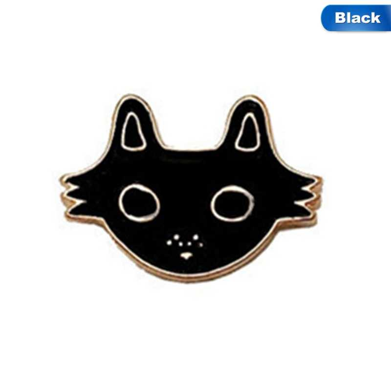 Kartun Sepatu Mata Kucing Hitam Berlian Imitasi Bintang Enamel Bros untuk Anak Laki-laki Perempuan Tas Denim Mantel Kerah Pin Ikon Lencana Perhiasan hadiah