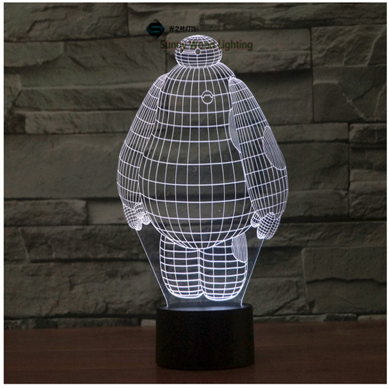 Baymax Big Hero 6 touch switch LED 3D lamp ,Visual Illusion 7color changing 5V USB for laptop, desk decoration toy lamp кпб d 97