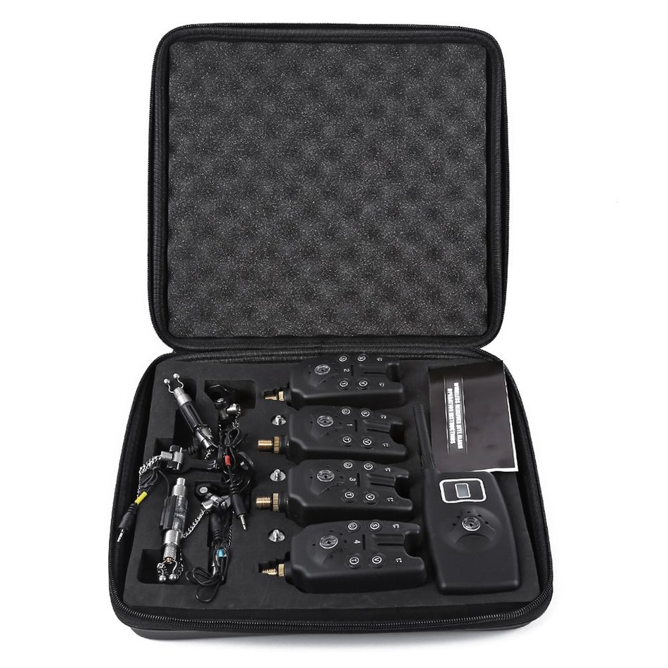 Outlife JY - 19 - SW Digital Wireless LED Fishing Accessories <font><b>Alarm</b></font> Alert Set 4 <font><b>Bite</b></font> Alerters 1 Receiver 4 Fish Swingers Black