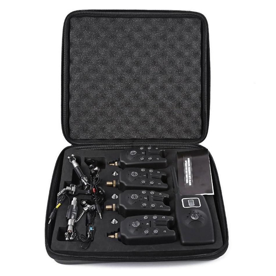Outlife JY-19-SW numérique sans fil LED accessoires de pêche alarme alerte Set 4 morsure alerteurs 1 récepteur 4 poissons échangistes noir
