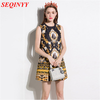 Noble Palace Mini Dress Women Spring Summer 2017 Sleeveless Diamonds Character Print Gold Luxury Loose Casual Black Dress