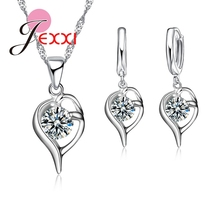 Shiny Austrian Crystal 925 Sterling Silver Jewelry Sets Fashion Jewelry Women/Girls Necklace & Earrings & Pendant Accessories