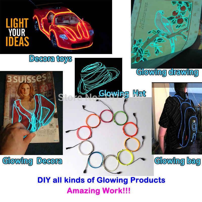 10 colores a elegir 1,3mm EL cable de cuerda tubo Flexible luz de neón LED no incluye EL controlador para la manualidad de juguete decoración de fiesta