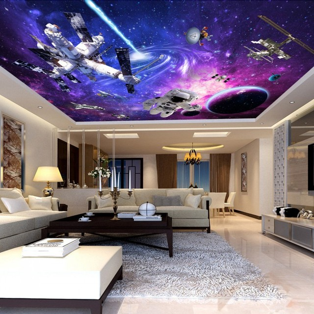 Free Shipping Vast Universe Space Station Large Scale Ceiling Painting Wallpaper 3D Stereo Bedroom Living Room