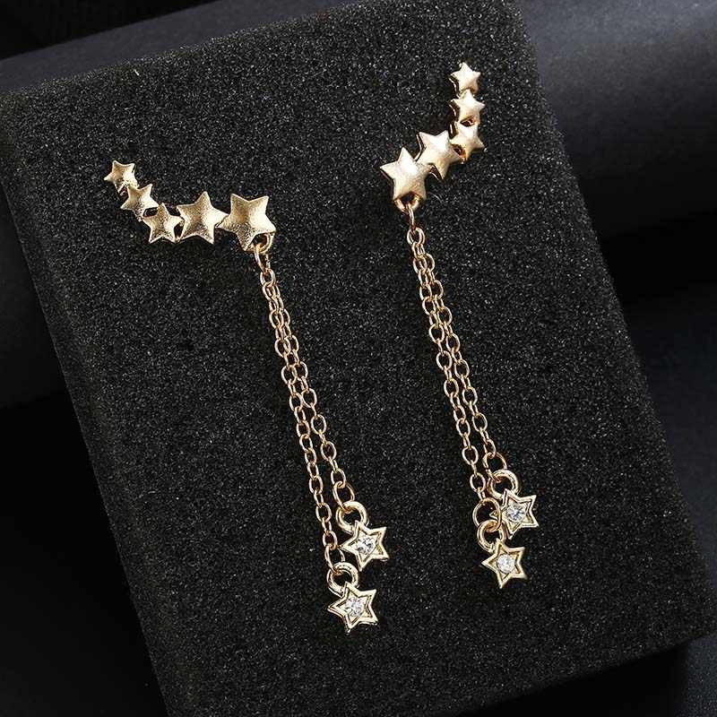 Luxury Moon And Stars Tassel Drop Earrings with Chain Accents and CZ Crystal Droplets In Silver Tone Earrings For Women