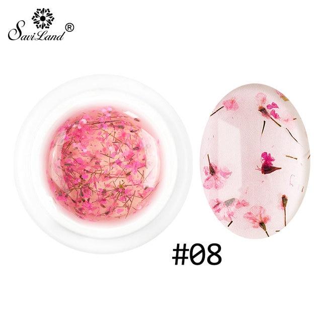 Saviland 2017 החדש DIY טבעי מיובש פרח פיות ציפורניים ג 'ל פולני פרחוני לספוג Off מניקור UV אמנות ציפורן ג' ל דבק