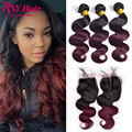 Ombre Indian Virgin Hair With Closure 7A Indain Body Wave With Lace Closure With Bundles Ombre Human Hair Bundles With Closure